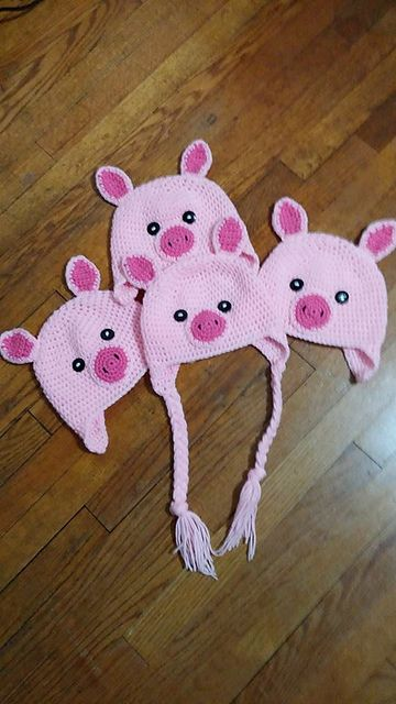 Crochet Pig Hats
