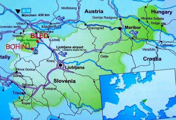 Map of Slovenia with Lake Bled and lake Bohinj