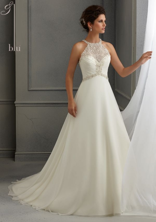 bridal dress from Blu by Mori Lee Dress Style 5264 Crystal Beaded Embroidery on a Delicate Chiffon Wedding Dress