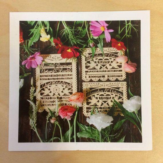 Découpé au laser (20 invitations) carte de mariage Love Bird Papel Picado inspiré mariage 5 x 7 répétition Engagement mariée douche]