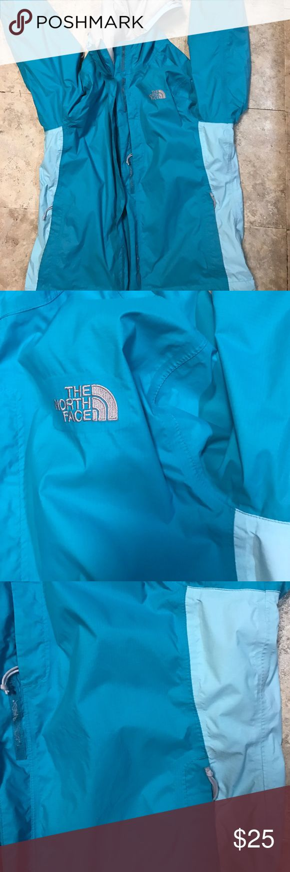The North Face Women's Rain Coat I am selling my teal  blue women's The North Face Rain coat. Size L. I have had it for two years but I have taken great care of it. Only selling because I got a new one. Good used condition! The North Face Jackets & Coats