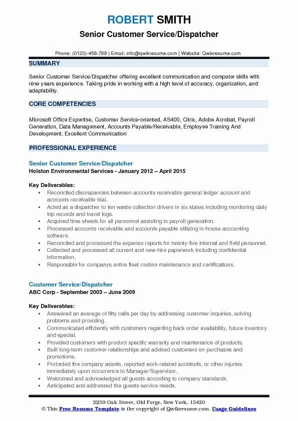 Dispatcher Job Description Resume Unique Customer Service Dispatcher Resume Samples Job Description Customer Service Resume Job