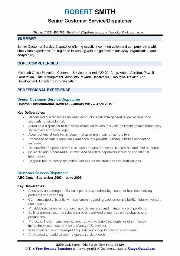 Dispatcher Job Description Resume Unique Customer Service