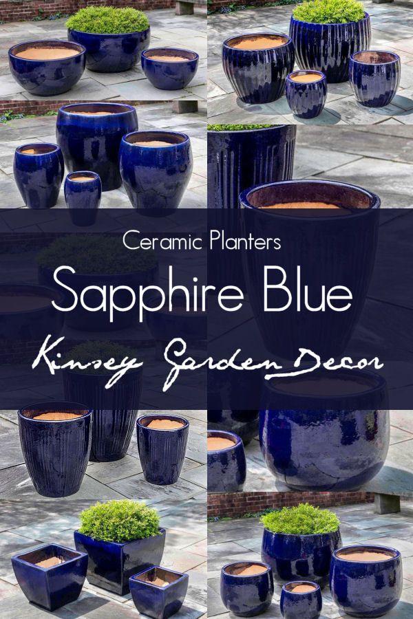 Kinsey Garden Decor Blue Ceramic Planters Ceramic Planters Flower Pots Outdoor Flower Pots