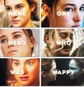 "No one. But, all tragedies will always end in their own, messed up happy ending. T^T Be brave, my fictional heroes. ""Always [Harry Potter] be brave [Divergent]."""