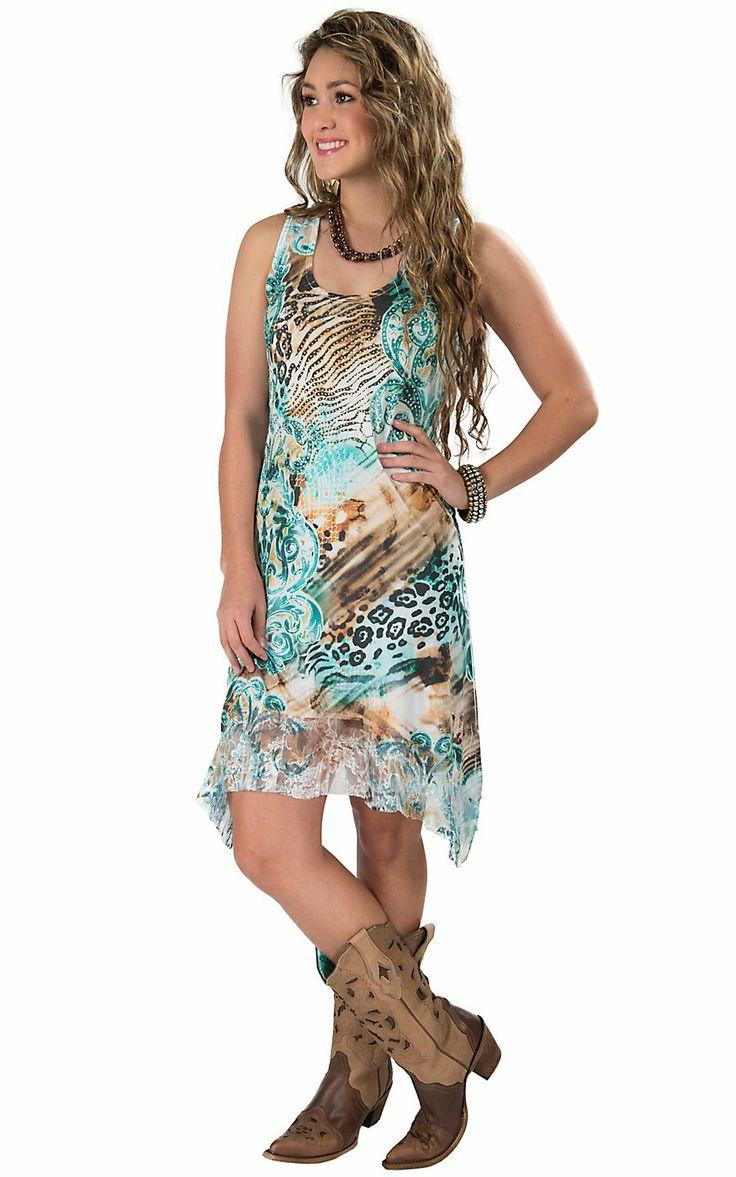 Panhandle Slim® Junior's Animal & Scroll Sublimation Print Sleeveless Dress
