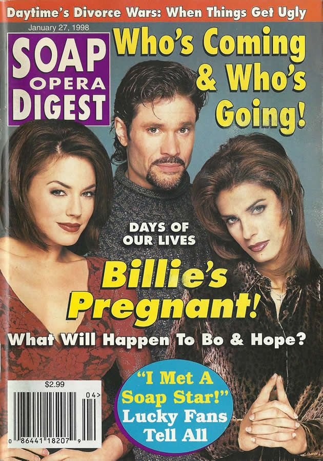 classicsodcovers: Classic SOD Cover: January 27, 1998 Krista Allen-Moritt, Peter Reckell, & Kristian Alfonso (Billie, Bo, & Hope, DAYS OF OUR LIVES)