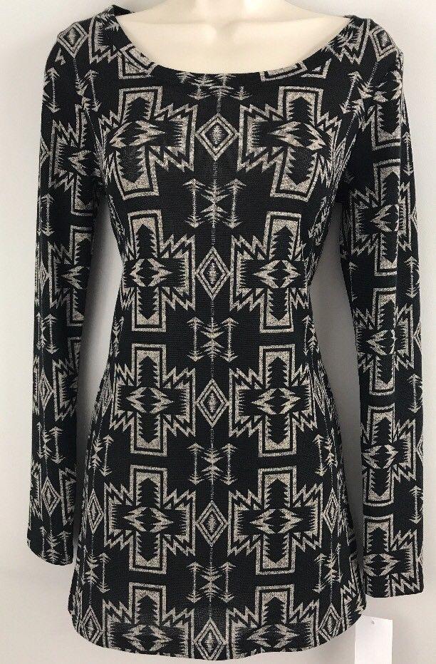 Women's Bodycon Long Sleeve Dress Tribal Print Semi Sheer Knit Living Doll Small    eBay