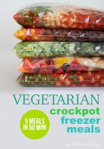 Five Vegetarian Freezer Crockpot Meals in 50 Minutes