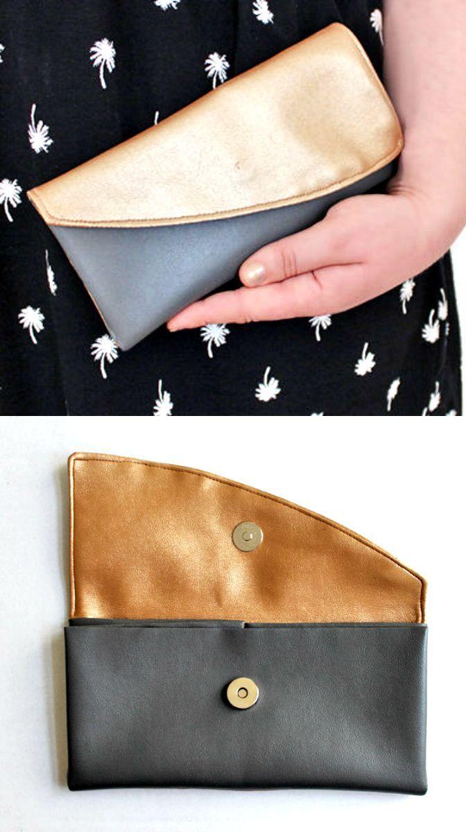 Nähset für eine festliche Clutch aus Kunstleder in Grau und Gold via http://Makerist.de