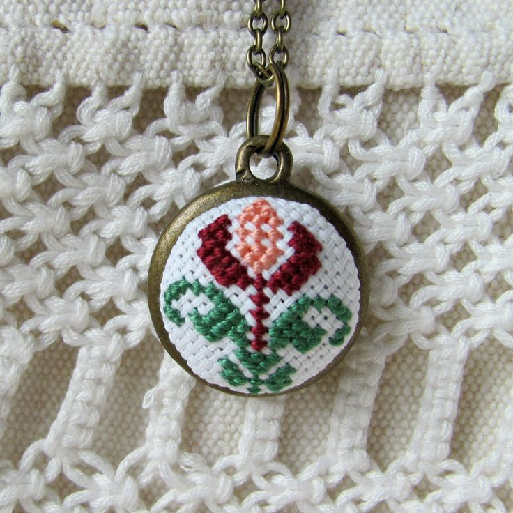 Romantic necklace, flower necklace, vintage jewelry, traditional romanian hand embroidered necklace, bohemian necklace, ethnochic by NeedleSChoice on Etsy