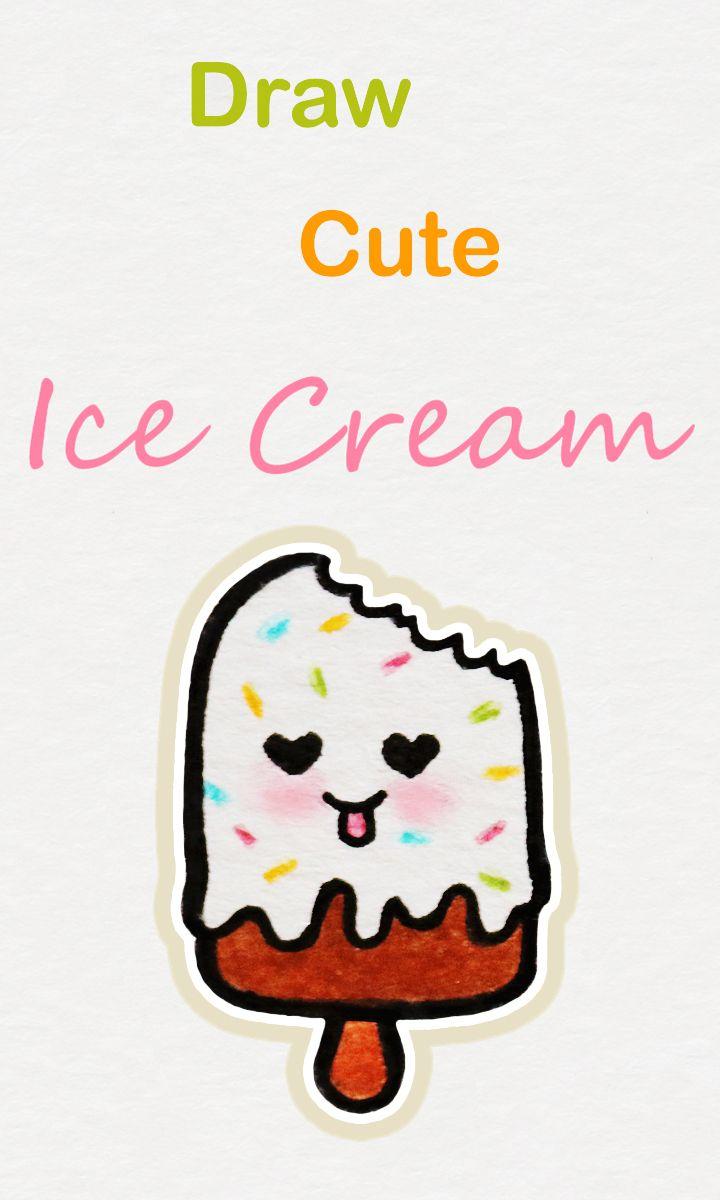 draw step ice cream kawaii easy drawing drawings icecream tutorial simple tutorials beginners cone alphabet learn