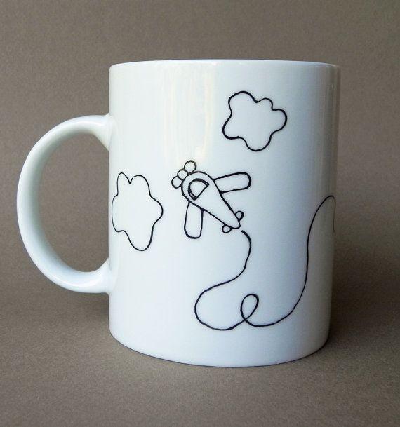 Little pilot, custom hand painted porcelain cup