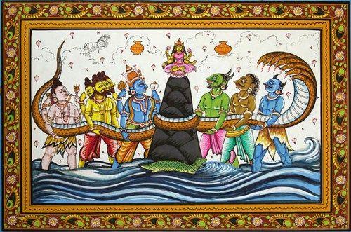 Amrithamanthana-le-barattage-de-locéan-de-lait-la-tortue-Kûrma-qui-supporte-le-mont-Meru-autour-duquel-est-enroulé-le-serpent-Vâsuki