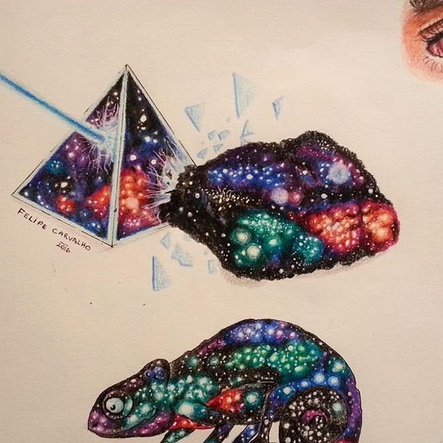 Nebulosa! #desenho #arte #art #lapisdecor #camaleao #piramede