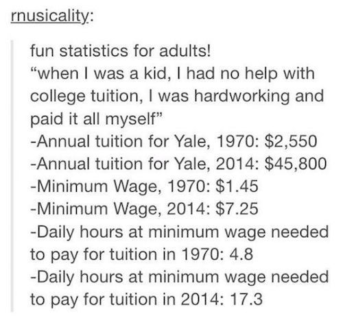 """I wish people would realize this more when they bitch at millennials for """"being lazy"""" and getting debt from school as if it's their fault. Money isn't worth the same, inflation is a thing, and it's harder for younger people, millennials, to get decent jobs."""