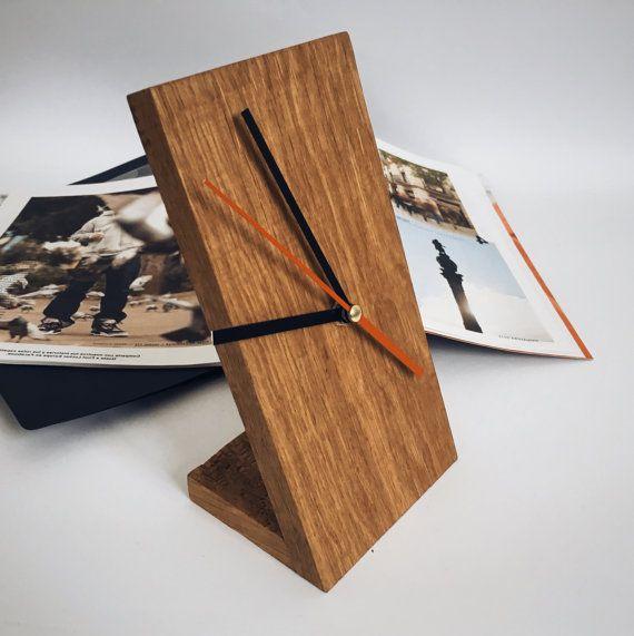 Simple wooden clock / Wooden desktop clock / by UNOWoodStore