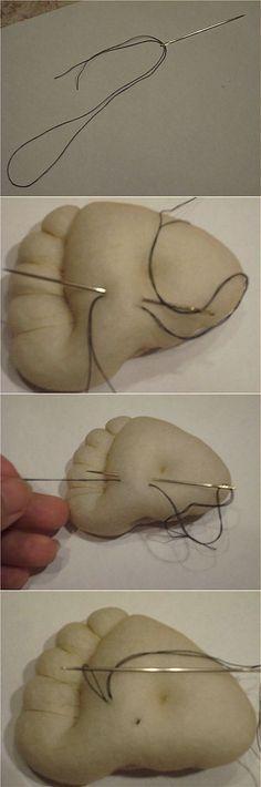 Крепление нити при утяжке (пошив тряпичных кукол). | Куклы | Постила