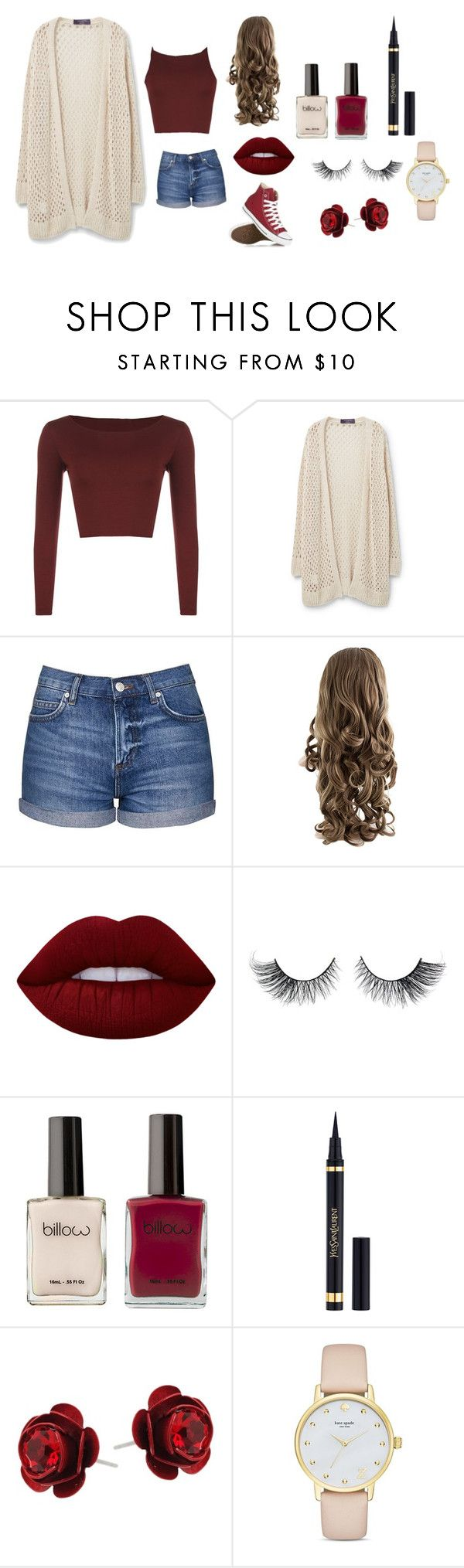 """""""MAROOONN"""" by fashionndivaa ❤ liked on Polyvore featuring WearAll, Violeta by Mango, Topshop, Lime Crime, Converse, Yves Saint Laurent, Michal Negrin and Kate Spade"""