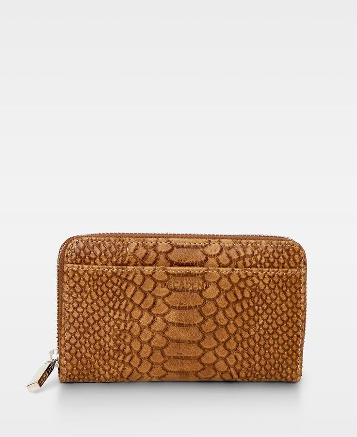 DECADENT Medium Zip Wallet Anaconda cognac