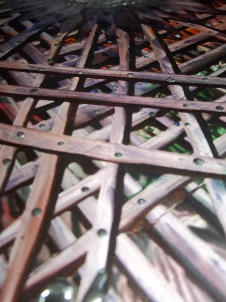 photo of an encaustic grid painting