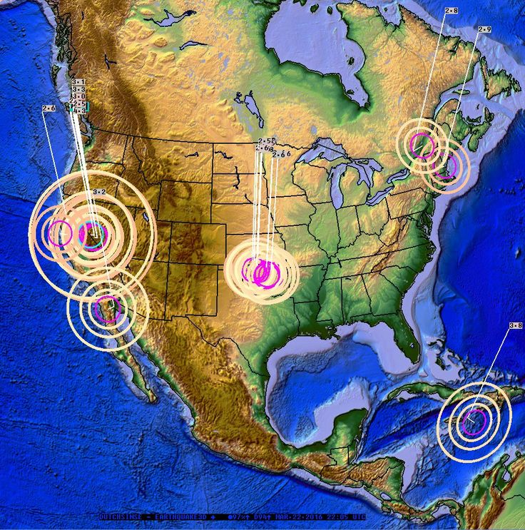 Whole United States moves in 48 hours — West coast earthquake causes East coast swarm.Over the past 48 hours (up to 500pm CT March 22, 2016), there has been a noticeable progression of earthquakes which occurred from the West coast to the Ea