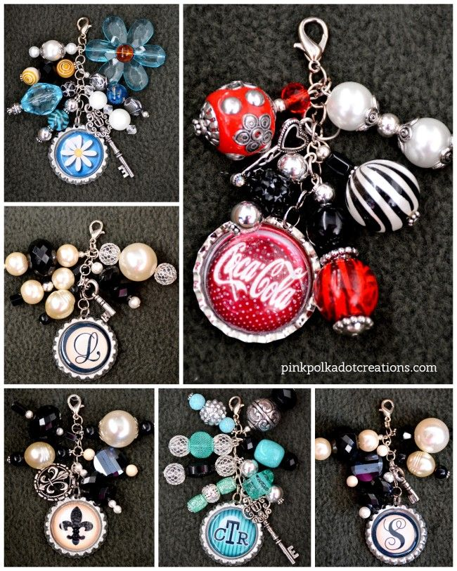Beaded Bottle Cap Charms | Pink Polka Dot Creations -- free bottle cap printables