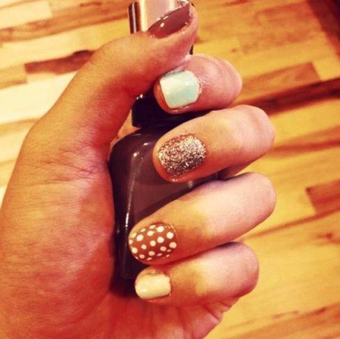 mix n' match manicure: Braids Hairstyles, Matching Nails, Nails Trends, Nails Colors, Manicures Nails, Fun Nails, White Nails, Nails Polish, Hair Style