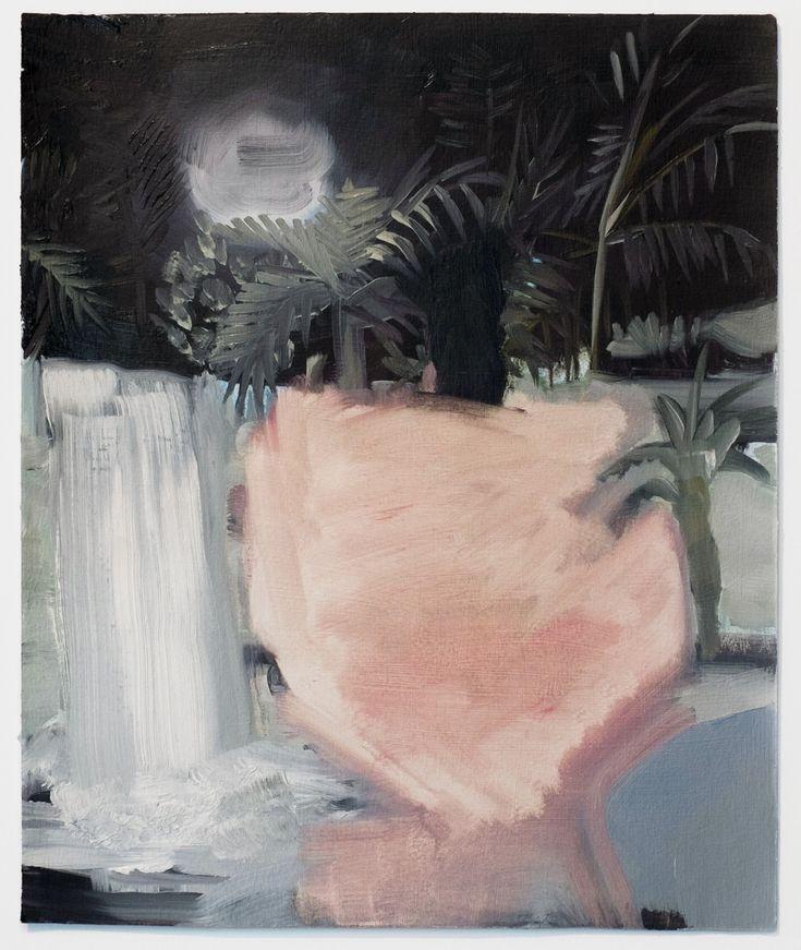 Justine Skahan Pink waterfall - Oil on paper - 12 x 14 - 2015
