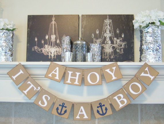 Ahoy Itu0027s A Boy Baby Shower Banner, Nautical Theme, Baby Shower, Sign, Babyu2026