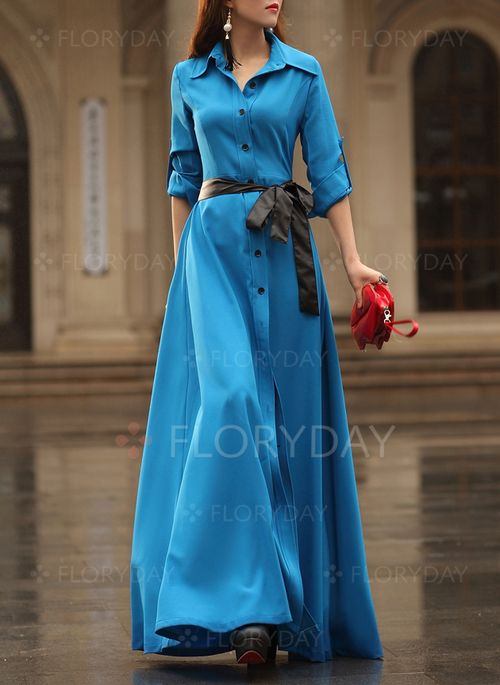 Dresses - $43.27 - Polyester Solid Long Sleeve Maxi Casual Dresses (1955106237)