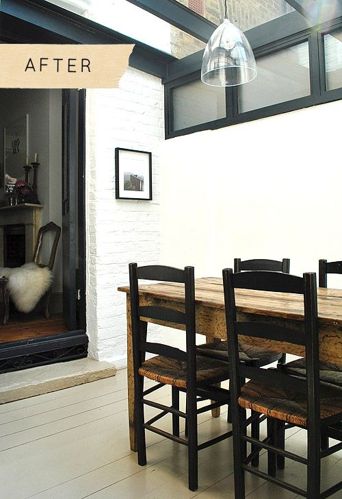 side return extension, painted brick, black frame skylight.