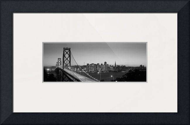 """Bay Bridge San Francisco BW"" by Ik Stores,  // { 'dimensions': { 'width': 48, 'height': 16 }, 'material': 26, 'size': 3 } // Imagekind.com -- Buy stunning fine art prints, framed prints and canvas prints directly from independent working artists and photographers."