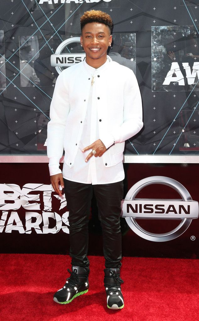 Jacob Latimore from 2015 BET Awards: Red Carpet Arrivals  Cool kicks? Check. Leather denim? Check. The musician hits all the right notes in this monochrome-cool get-up.