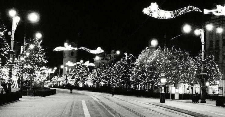 Winter lights in Debrecen, Piac Street