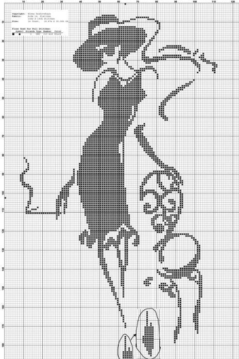 0 point de croix silhouette femme et chaise - cross stitch silhouette lady and chair