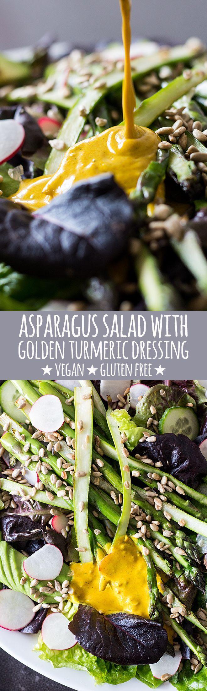 A fresh spring salad with crisp cos lettuce, pan-seared asparagus, radish, cucumber, creamy avocado and a gorgeous golden turmeric tahini dressing. via @quitegoodfood