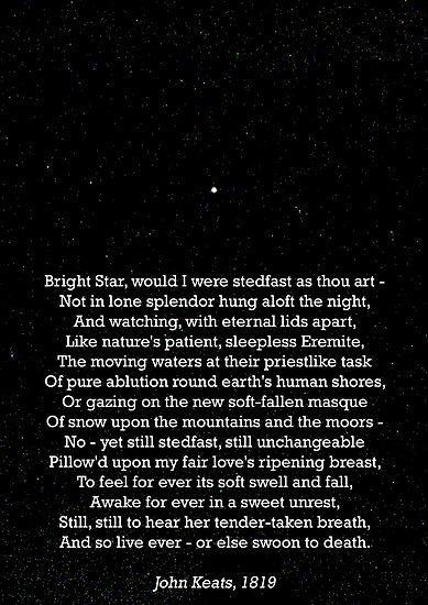 """Bright Star"" by John Keats. First poem I ever memorized. I love, love, love John Keats."