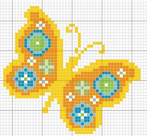 Yellow butterfly cross stitch