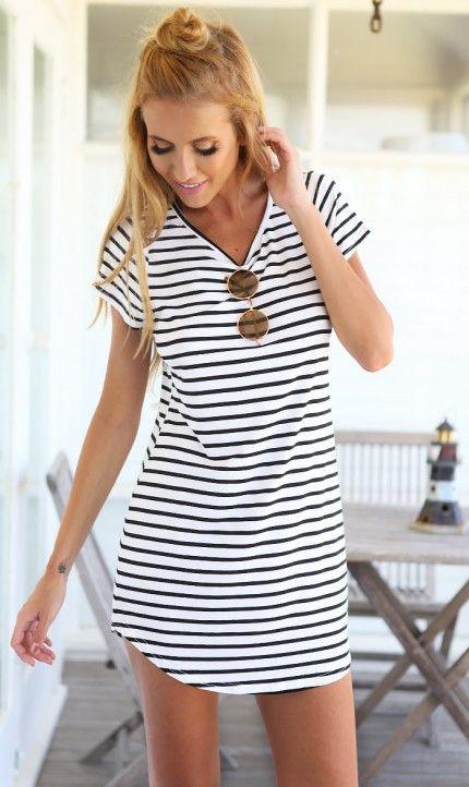 Women Summer Dress Top Tee White Black Short Sleeve Stripes Loose Casual Jersey Mini Shift Dress Long T-shirt