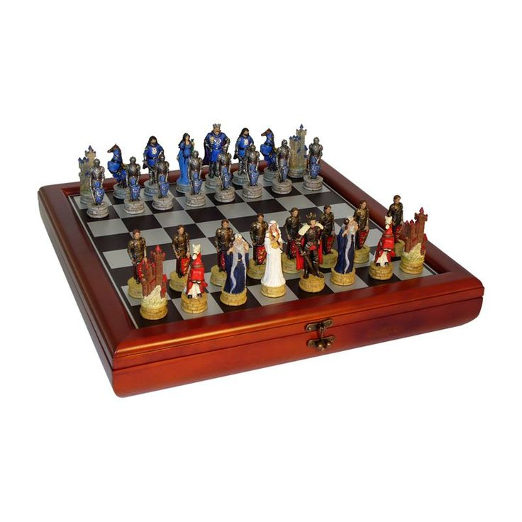 King Arthur's Court Painted Resin Chess Set with Cherry Chest - R75138-CCT