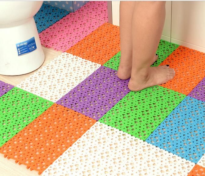 High-Grade Plastic Strong Suction Anti Slip Mat Kitchen Bathroom Shower Floor Foot Massage Blue Green Purple Rose Orange #Affiliate