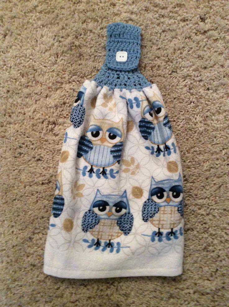 hanging kitchen towel - crochet top towel - owls - birds