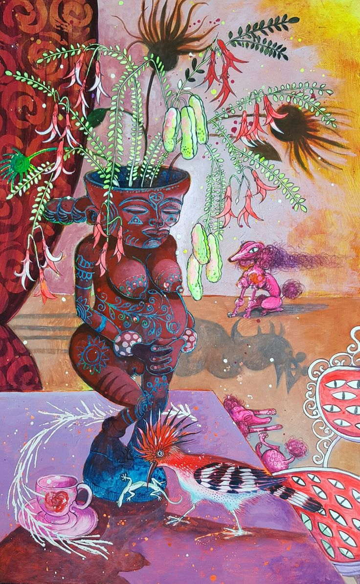 Marna Schoeman  Still life with fertility figure and cancer bush flowers  Acrylic on board