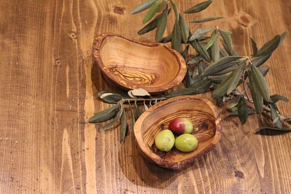 Wooden fruit bowls - Set of 8 rustic olive wood bowl - Handmade wooden serving Nuts Olive Christmas gift