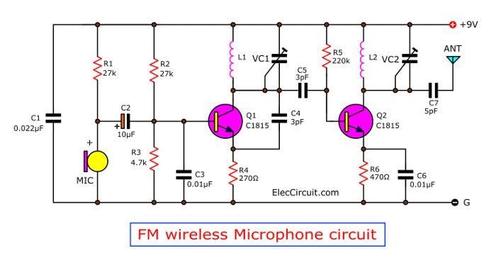 [FPER_4992]  FM wireless microphone circuit diagram | ElecCircuit.com in 2020 | Circuit  diagram, Microphone, Wireless | Wireless Microphone Diagram |  | Pinterest