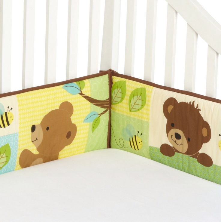 Bumper compañero del BeddingSet de ositos para niño. Consta de 4 piezas, dos cortas de 24x67cm y dos largas de 24x128cm Visitanos www.mybabydeco.com o escribenos info@mybabydeco.com
