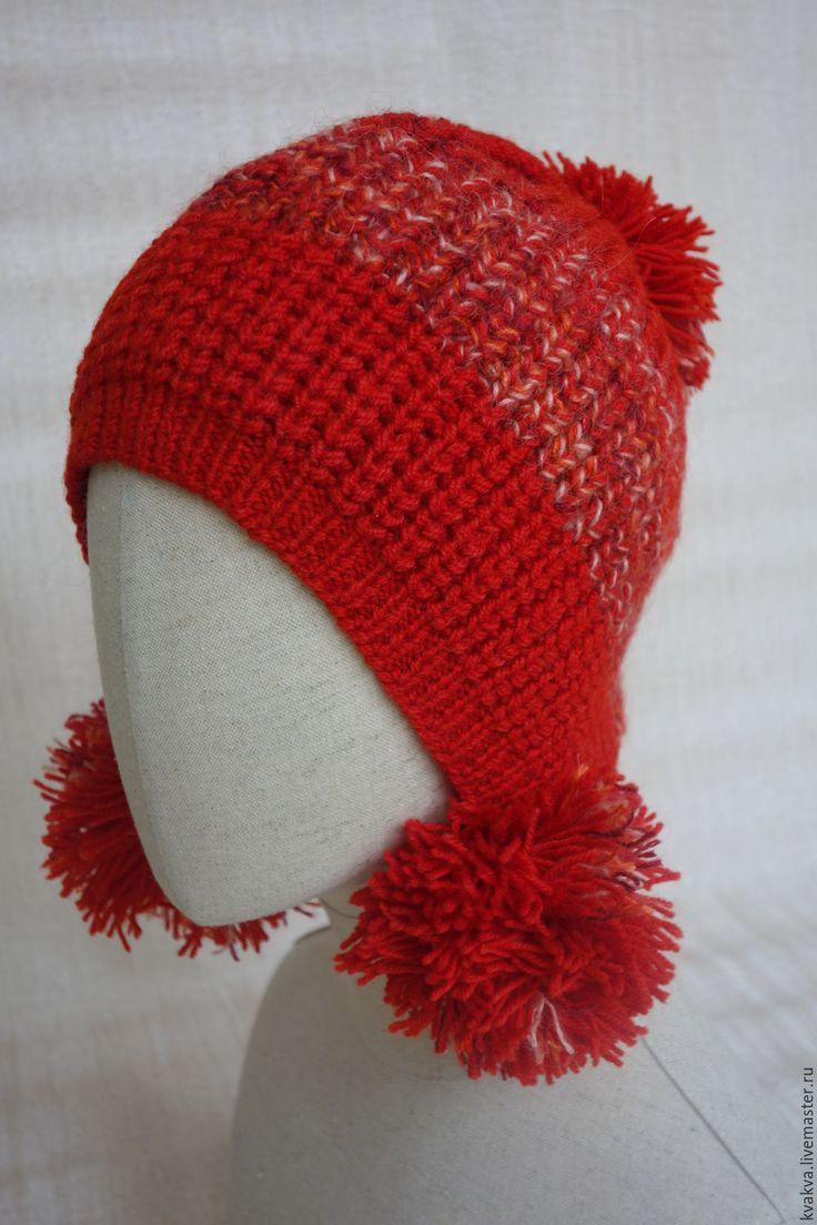 """Купить """"Красная шапочка"""" - ярко-красный, однотонный, шапка вязаная, помпон, капюшон, колпачок, колпак"""