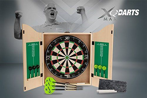 Bristle dartboard with staple free bullseye, round wire steel dividers and moveable outer ring. * Two sets of 18gm Michael Van Gerwen darts featuring MVG signature flights. * Strong easy to hang mdf timber cabinet with veneer * Includes dartholders and scoreboards with chalk and eraser pad * (Placed within the Amazon Associates program) * 22:29 Mar 15 2017