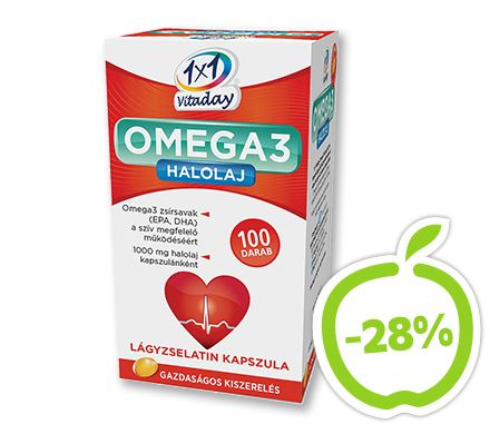 1x1 Vitaday Omega-3 halolaj lágykapszula 100x. Az EPA és a DHA hozzájárul a szív megfelelő működéséhez, amely kedvező hatás legalább 250 mg EPA  és DHA napi bevitelével érhető el. A kapszulából az ajánlott napi adag (1 kapszula) ezt a mennyiséget  biztosítja, illetve azt meg is haladja. Étrend-kiegészítő. Eredeti ár: 2089 Ft, Akciós ár: 1499 Ft